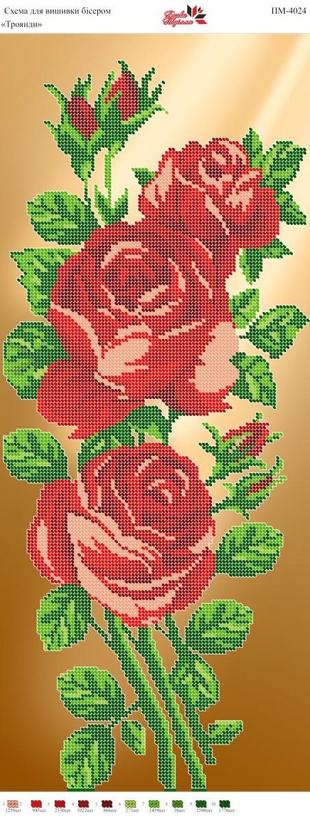 Панно ПМ 4024 Розы частичная зашивка