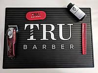 Резиновый коврик для инструментов TruBarber чёрный с белым брендом, фото 1