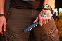 Катран нескладной нож  для охоты рыбалки и туризма длина 25.5 см рукоять резина чехол из ткани