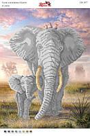 Вышивка бисером СВ 3077  Слоны формат А3