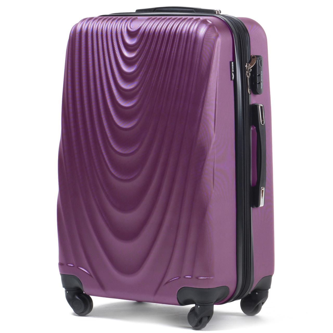 Большой пластиковый чемодан Wings 304 на 4 колесах фиолетовый