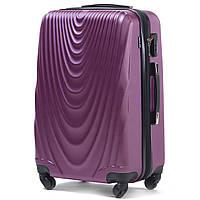 Большой пластиковый чемодан Wings 304 на 4 колесах фиолетовый, фото 1
