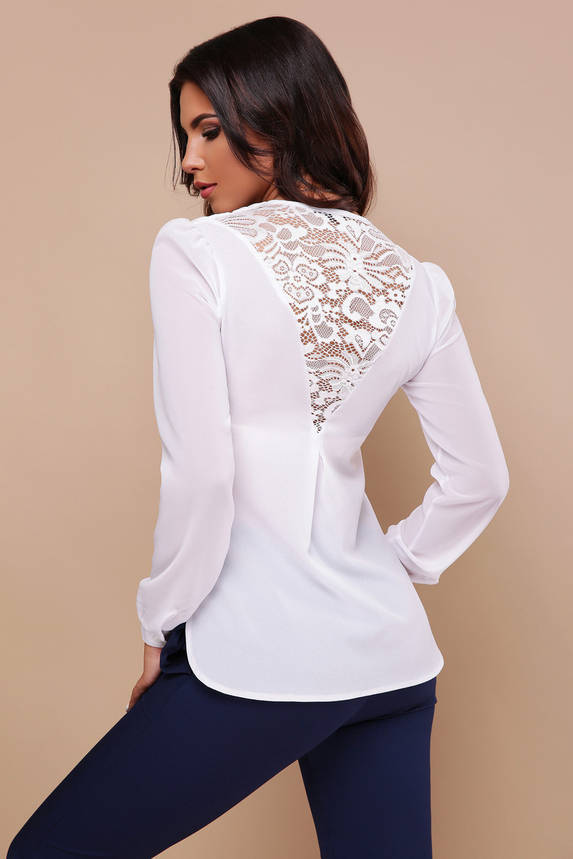 Белая нарядная шифоновая блузка с гипюром, фото 2