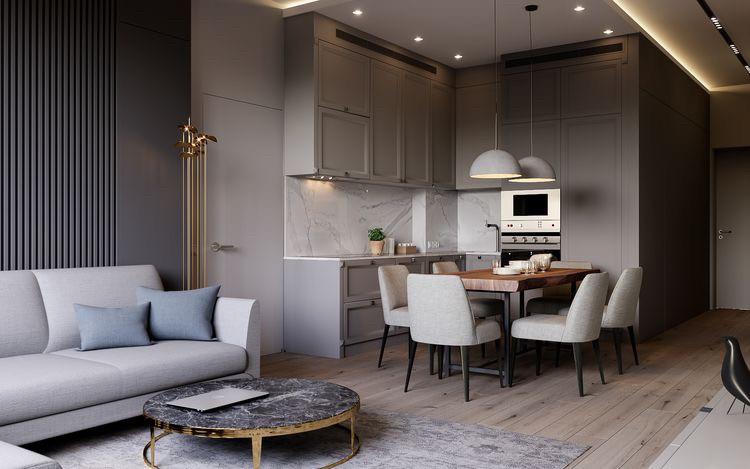 Кухня угловая с стиле современная классика. Фасады с фрезеровкой