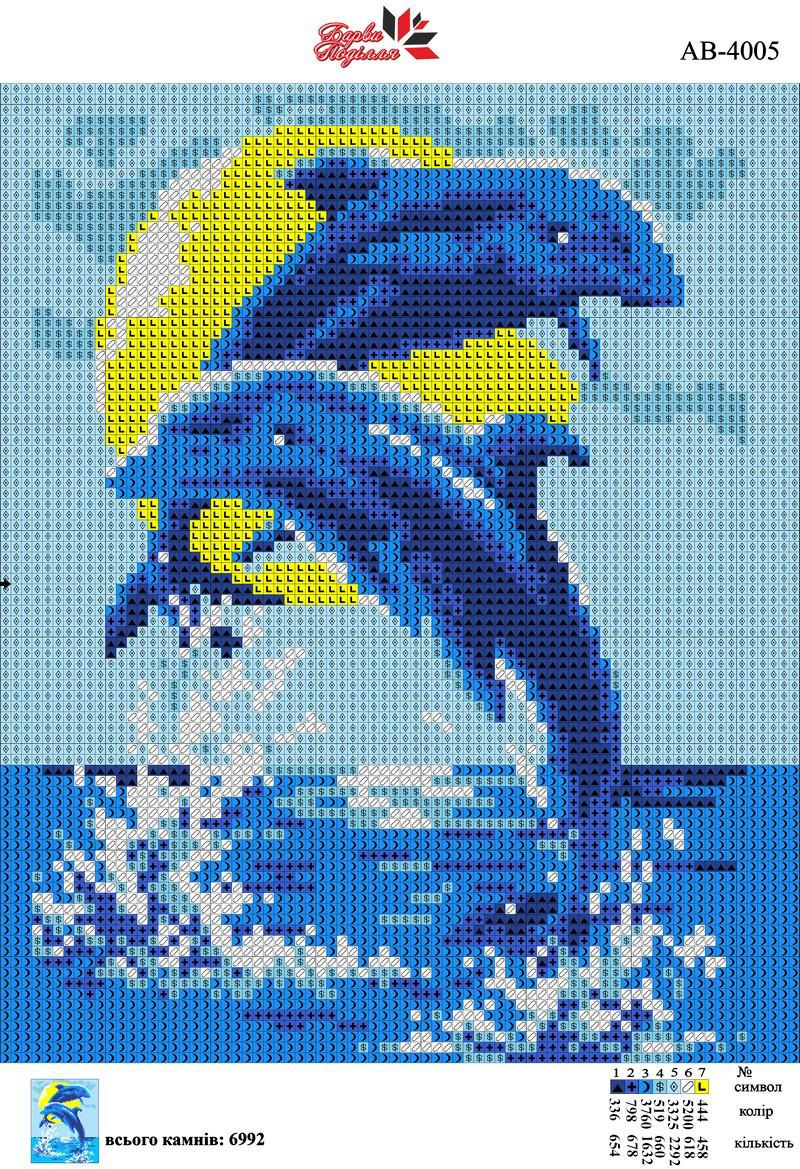 Алмазна вишивка АВ 4005 Дельфіни (повна зашивання)