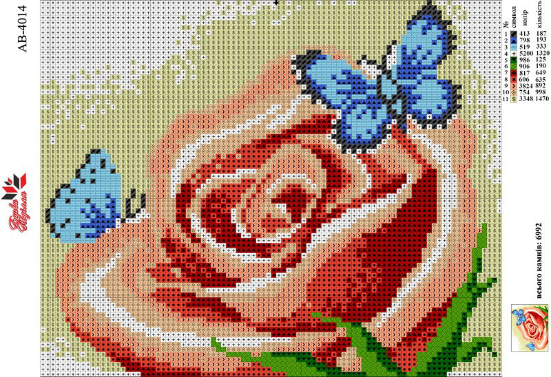 Алмазна вишивка АВ 4014 Квітка (повна зашивання)