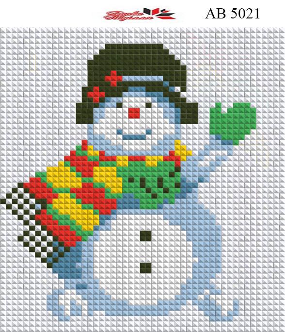 Алмазна вишивка АВ 5021 Сніговик (повна зашивання)