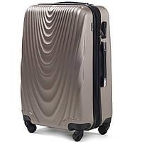 Средний пластиковый чемодан Wings 304 на 4 колесах золотистый, фото 1