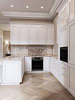 Кухня белая с карнизами и барной стойкой, фото 1