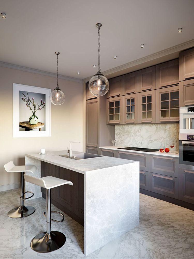 Кухня под потолок кофейный цвет Фасады с фрезеровкой