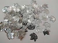 """Уцінка!!! Паєтки """"листок клена"""" 23*21 мм, упаковка 8 г (біля 74-78 шт). Сріблясті, фото 1"""