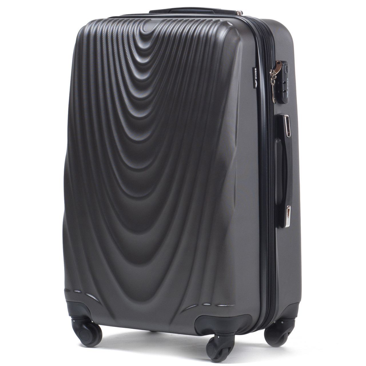Малый пластиковый чемодан Wings 304 на 4 колесах серый