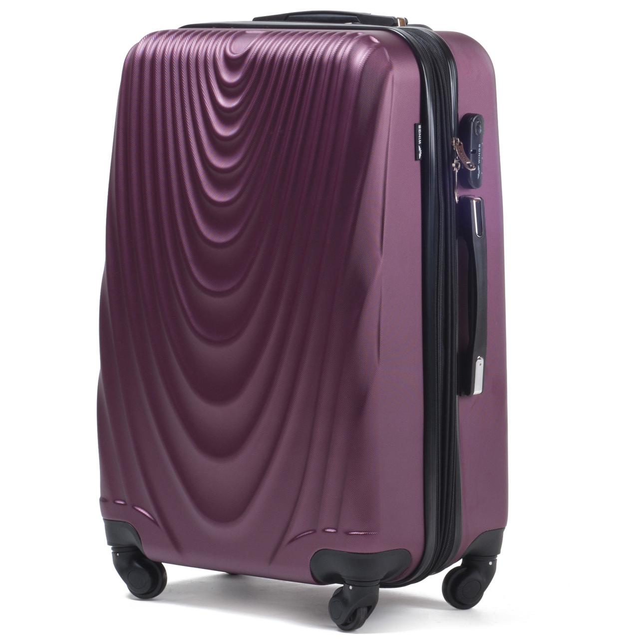 Малый пластиковый чемодан Wings 304 на 4 колесах бордовый