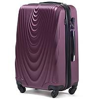Малый пластиковый чемодан Wings 304 на 4 колесах бордовый, фото 1
