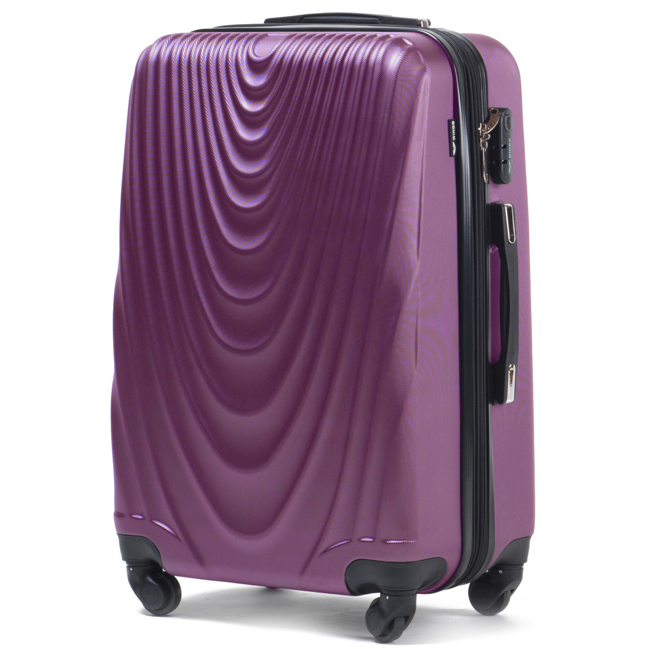 Малый пластиковый чемодан Wings 304 на 4 колесах фиолетовый