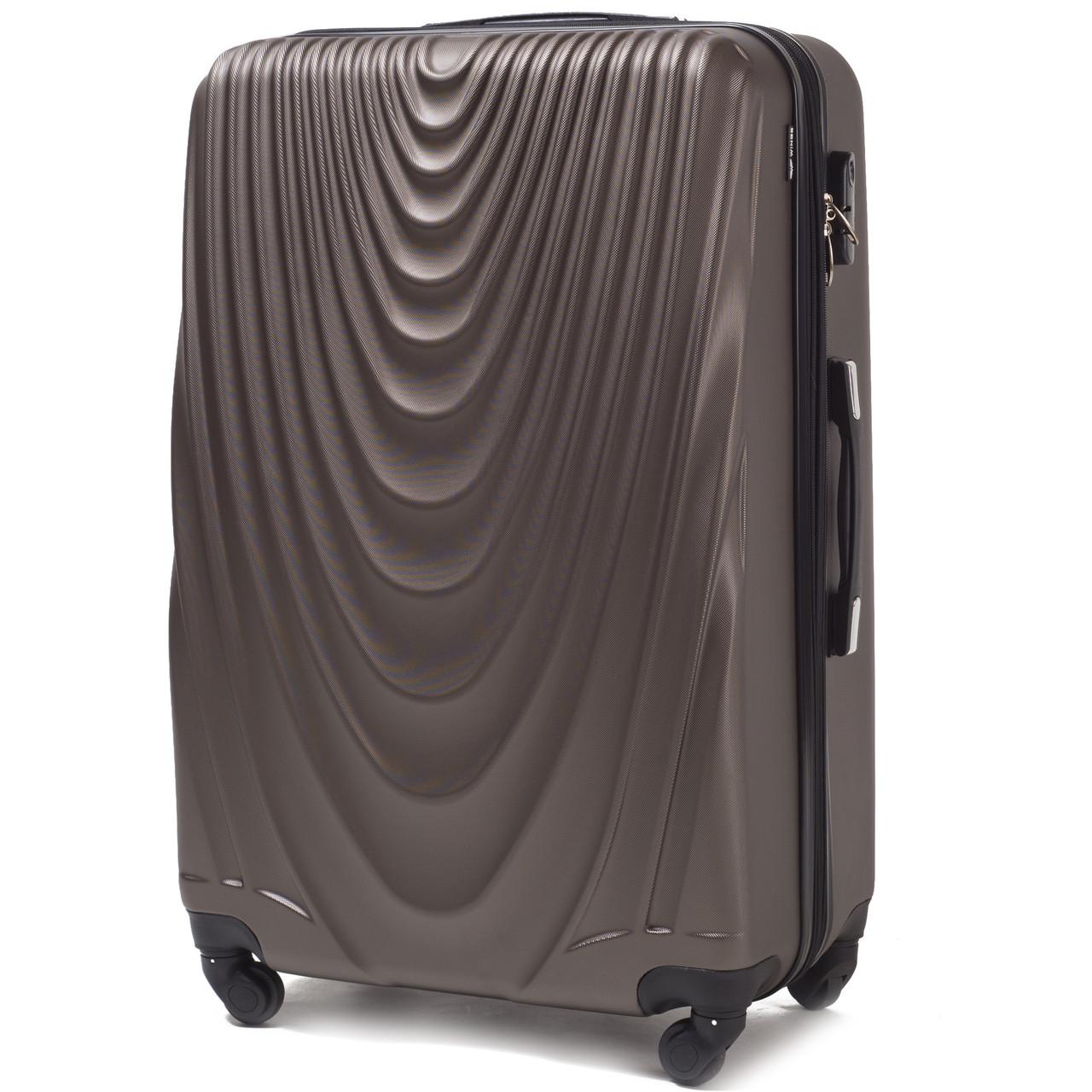 Малый пластиковый чемодан Wings 304 на 4 колесах коричневый