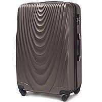 Малый пластиковый чемодан Wings 304 на 4 колесах коричневый, фото 1