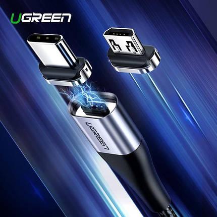 Магнитный кабель Ugreen Micro USB / Type-C для зарядки и передачи данных (Черный), фото 2