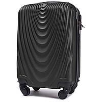 Микро пластиковый чемодан Wings 304 на 4 колесах черный