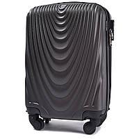 Микро пластиковый чемодан Wings 304 на 4 колесах серый