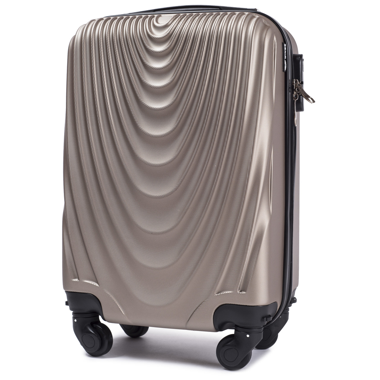 Микро пластиковый чемодан Wings 304 на 4 колесах золотистый