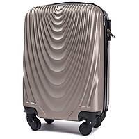 Микро пластиковый чемодан Wings 304 на 4 колесах золотистый, фото 1