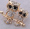 Брошь брошка 2 совы сова филин камни сверкает шикарная под золото, фото 2