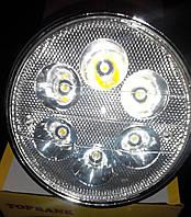 Фара мопед Альфа Дельта круглая хром LED-6 ( светодиодная 6 диодов 18W )
