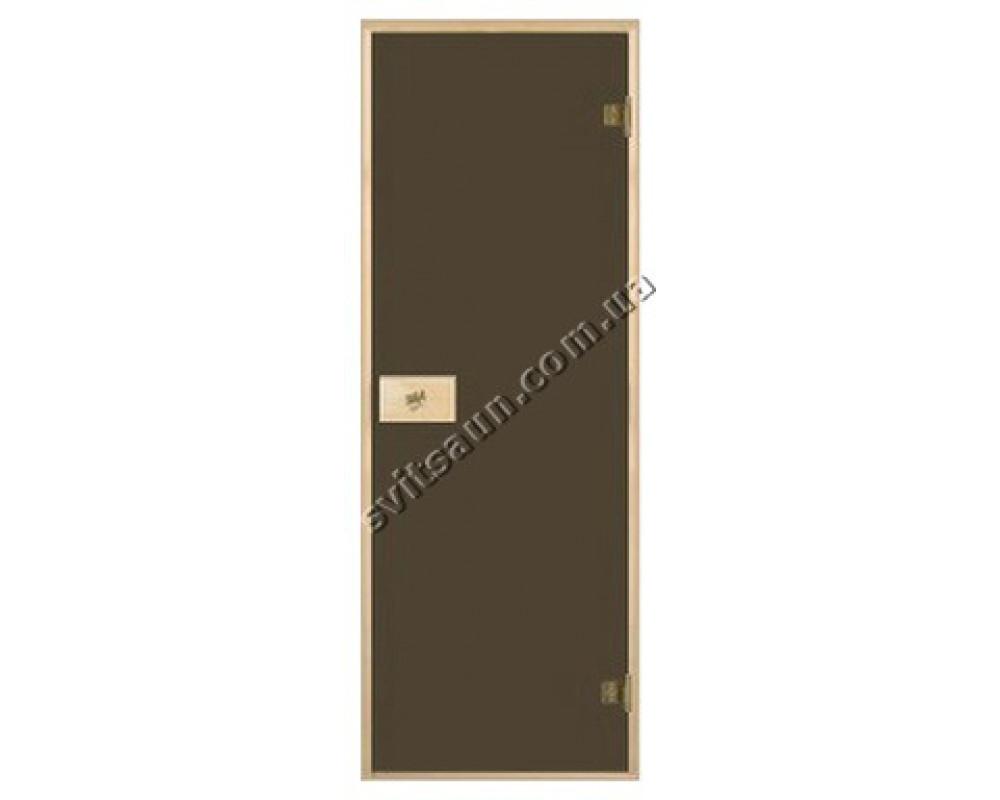 Двери для сауны стандартные, цвет бронза 80*190