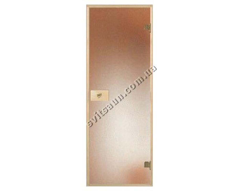 Двери для сауны стандартные, цвет матовая бронза 80*190