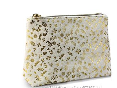 Золотистая косметичка кейс ОРГАНАЙЗЕР сумочка от Ив Роше  молочно-белый  золотом