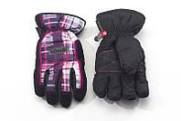 Перчатки Kombi STRIKE JR подростковые, черные в фиолетовую клеточку, размер L (11-12 лет)