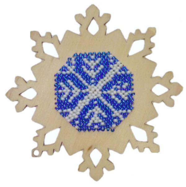 """Набір для вишивання бісером на дерев'яній основі """"Сніжинка 2"""""""