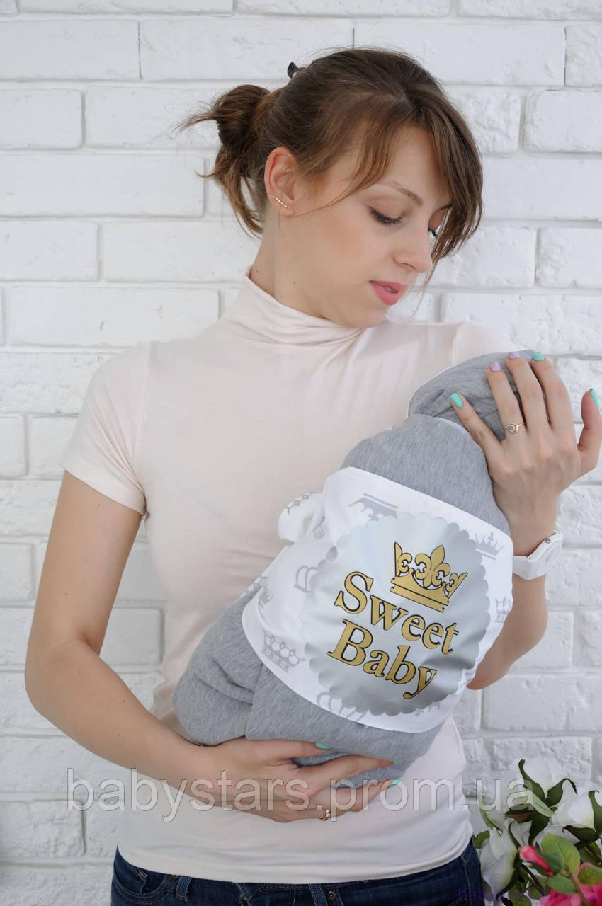 """Набор для новорожденного на выписку """"First feelings"""", серый меланж"""