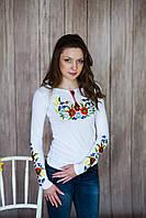 Жіноча вишита футболка довгий рукав. Модель: Вінок з колосками