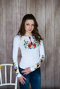 Женская вышиванка с длинным рукавом белого цвета «Венок с колосками»