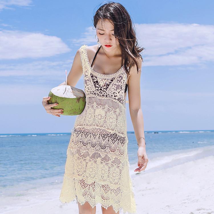 39ef15ff16d2a Ажурное пляжное платье - туника беж, белый, черный - Интернет магазин