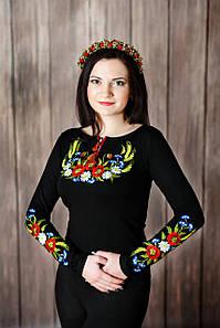 Черная приталенная женская вышиванки с длинным рукавом «Венок с колосками» 3XL
