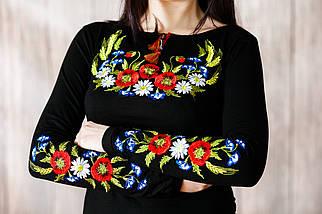 Черная приталенная женская вышиванки с длинным рукавом «Венок с колосками» 3XL, фото 2