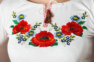 Классическая женская белая вышиванка с цветочным орнаментом «Украинская краски», фото 2