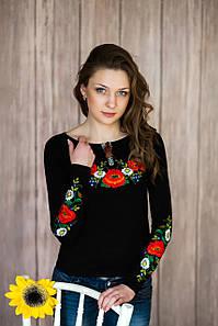 Стильная черная женская футболка с длинным рукавом с богатой вышивкой цветами «Украинская краски» 3XL