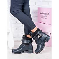 Женские зимние кожаные ботинки на низком ходу с ремешками, фото 1