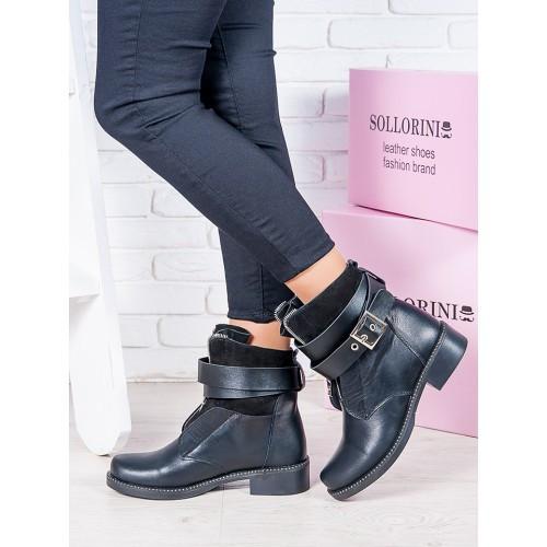 Женские зимние кожаные ботинки на низком ходу с ремешками