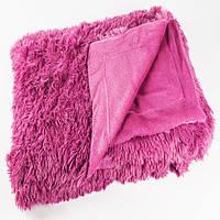 Меховой плед-травка Colorful Home евро 200*220 розовый
