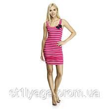 М-L  Платье розовое в белую полоску с контрастным бантом ЛЕТО