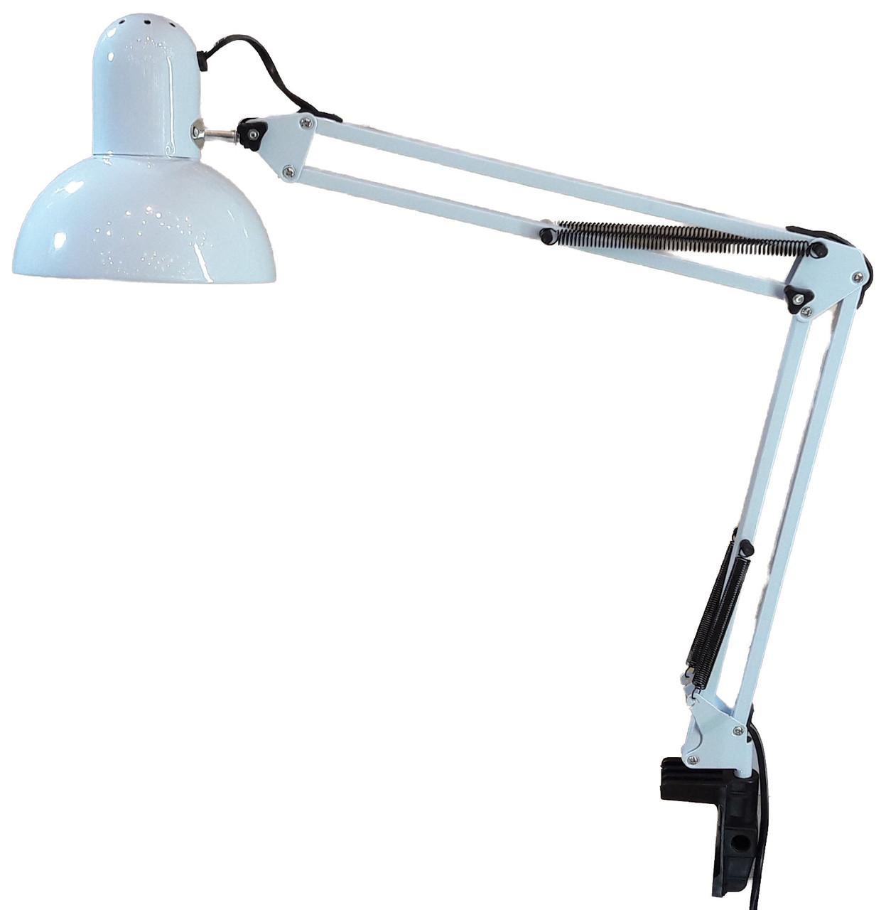Лампа настольная белая на струбцине