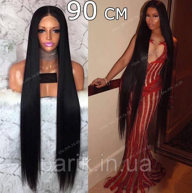Длинный чёрный парик 90 см. без чёлки, натуральный волос