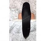 Длинный чёрный парик 90 см. без чёлки, натуральный волос, фото 5