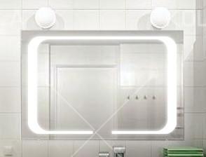 Зеркало с LED подсветкой 1200*800 с рисунком D59 с включателем кнопкой