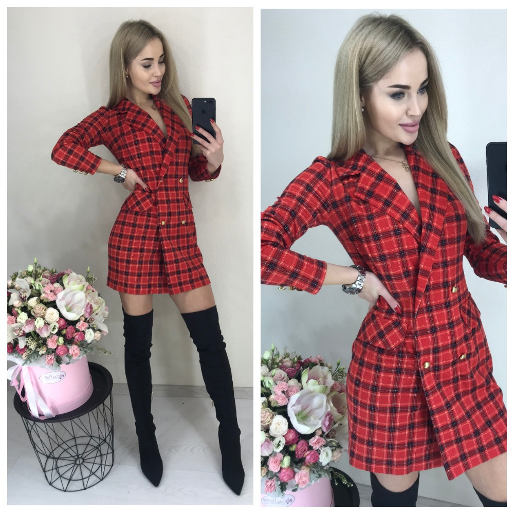 Красное платье пиджак в клетку